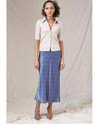 Jessica Russell Flint Tavia Bias Cut Skirt - Blue