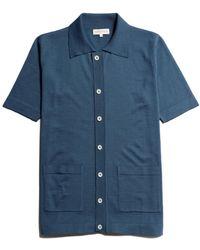 Far Afield Velzy Short Sleeve Cardigan Ensign - Blue