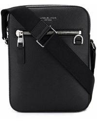 Michael Kors Leather Messenger Bag - Black
