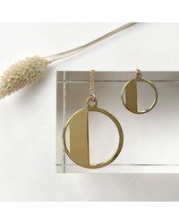Alice Eden Art Deco Initial Letter D Pendant Necklace - Metallic