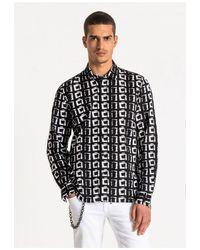 Antony Morato Square Design L/s Shirt /white - Black