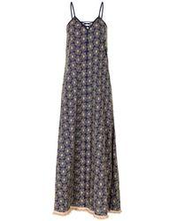 Naudic Criss Cross Maxi Dress Roza Schiffly Naug-1173 - Blue