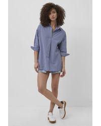 French Connection Reta Check Pop Over Shirt   - Blue