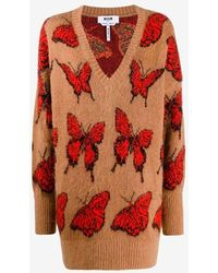 MSGM Butterfly Beige V Neck Sweater - Brown