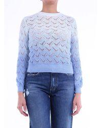 L'Autre Chose The Autrechose Light Blue Crewneck Sweater
