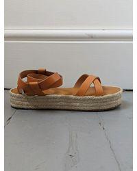 Étoile Isabel Marant Melyz Tan Leather Espadrille Sandals - Brown