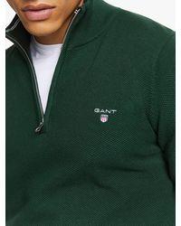 GANT Cotton Pique Half-zip Jumper - Green