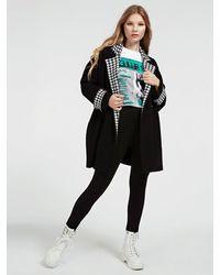 Guess Viscose Blend Coat With Contrast Lapel - Black