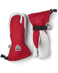 Hestra Heli Ski 3 Finger Glove / Off White - Red