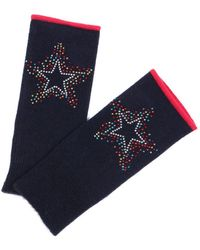 Adeela Salehjee Munich Navy Fingerless Glove In Solid Colour , Style:scatter Star - Grey