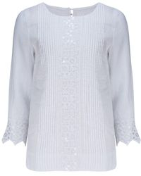 120% Lino 120% Lino Long Sleeve Shirt In - White