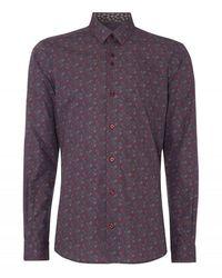 Remus Uomo Uomo Floral Shirt Burgundy - Purple