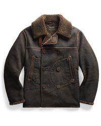 Ralph Lauren Rrl By Gambell Peacoat Sheep Shearling Jacket Vintage Black / Brown