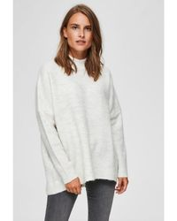 SELECTED Enica Knit Birch Melange - White