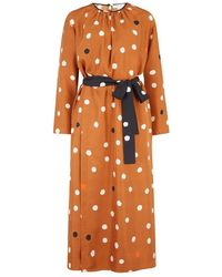 Chinti & Parker Painted Spot Dress In Ginger - Brown