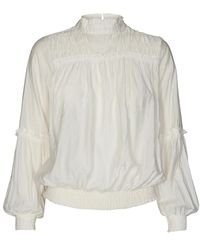 co'couture Cocouture Avery Frilled Smock Blouse - White