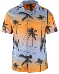 J.Lindeberg J.lindeberg David Short Sleeve Resort Printed Palm Shirt - Orange