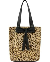 Brix + Bailey Leopard Bow Front Hair On Hide Leather Tote - Multicolour