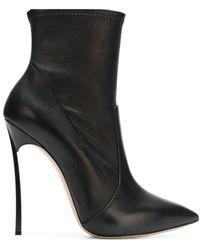 Casadei 1r66e5e120hhnagu9000 Leather Blade Ankle Boots - Black