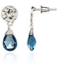 Azuni London Silver Kate Small Drop Earrings In Iolite - Metallic