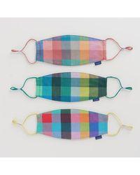 BAGGU Madras Mix Face Mask Loop Set - Multicolour