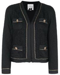 Edward Achour Paris Black Jacket With Gold Chain 411029