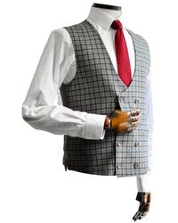 Gibson London Cheyne Grey With Navy & Check Double-breasted Suit Waistcoat - Brown
