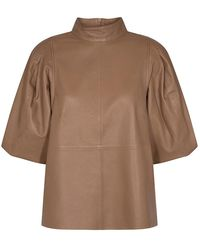 Mos Mosh Cassandra Wood Leather Blouse - Brown