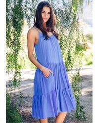 9seed Condessa Dress Moroccan Blue - White