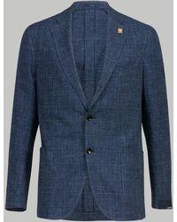 Lardini Grained Check Blazer (blue)
