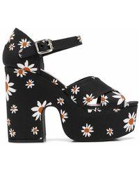 Miu Miu Daisy Gabardine Sandals - Black