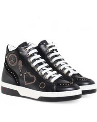 Moschino - Love Leather Peace High Top Trainers - Lyst