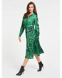 Guess Shirt Dress In An All Over Print - Green