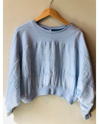 European Culture Linen Mix Sweatshirt Baby Blue