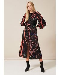 PHOEBE GRACE Trudy Midaxi Dress With High Neck Button Through Detail And Tie-back In Fluro Tree - Black