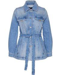 7 For All Mankind Women's Jsk4k850inlight Light Blue Other Materials Jacket