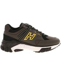 Hogan Men's Hxm4770ca70of9741z Brown Leather Sneakers