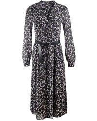 Michael Kors Long Sleeve Midi Shirt Dress - Black