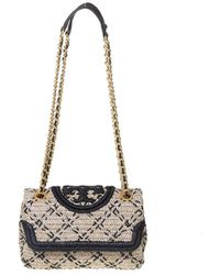 Tory Burch Straw Fleming Small Shoulder Bag - Multicolour