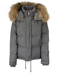 Fay Fur Hooded Puffer Jacket - Grey