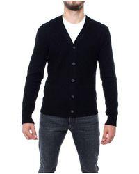 Paolo Pecora Men's A04070779000 Black Wool Cardigan