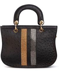 Thale Blanc Mademoiselle Satchel: Designer Crossbody Bag In Black Ostrich With Crystals