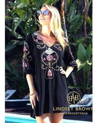 LINDSEY BROWN Madrid Tunic Top - Black