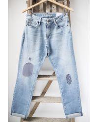 Denham Monroe Golden Rivet Blue City Patch Jeans