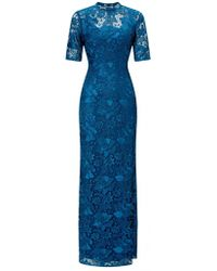 Adrianna Papell Guipure Long Dress In Evening Sky - Blue