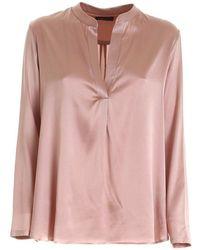 Paolo Fiorillo Capri Silk Shirt In Pink