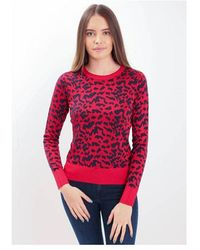 BOSS by Hugo Boss Jacquard Leopard Knit Colour: Navy/red - Blue
