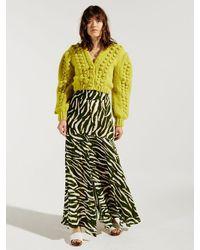 Hayley Menzies Shimmering Water Tiger Silk Midaxi Panel Skirt - Black