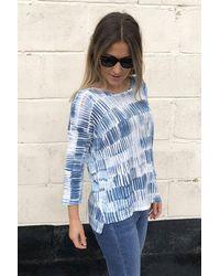 Kinross Cashmere Brushstroke Print Linen Jumper - Blue