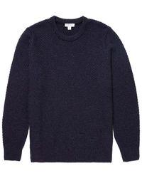 Sunspel - Men's British Wool Chunky Knit Jumper In Navy - Lyst